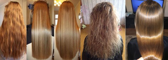 волосы кератин до после